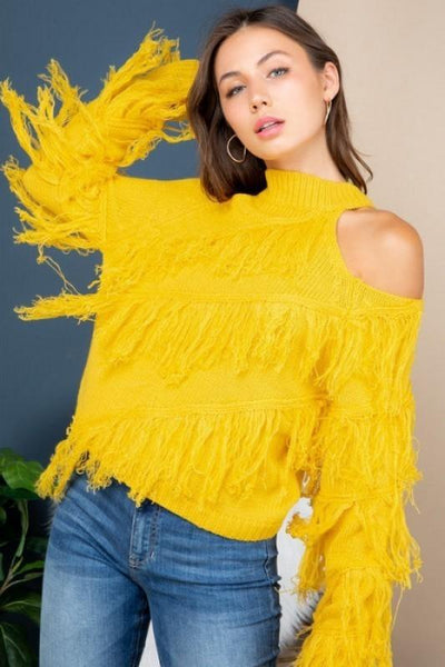 Yellow Open Shoulder Fringe Sweater