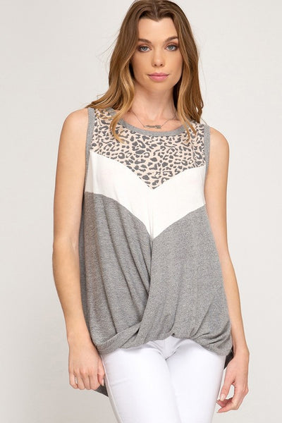 Grey Cheetah Print Front Twist Top