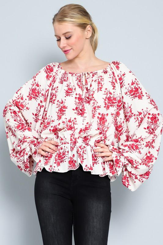 Red and Cream Ruffled Long Sleeve Top