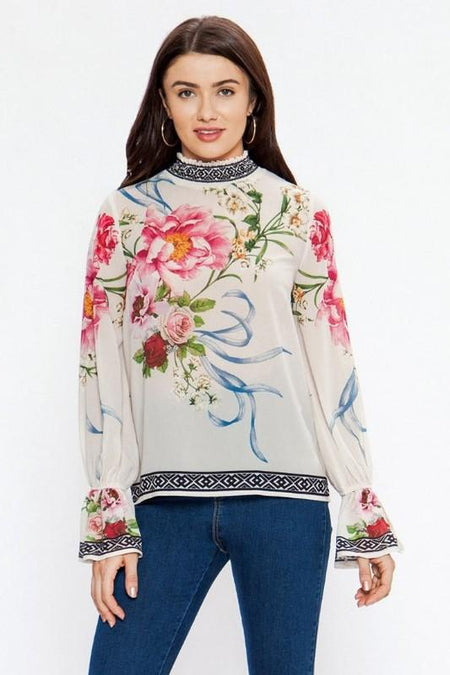 Blue and Floral Embroidered V-neck Top