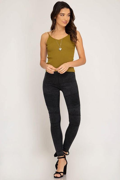 Black Mineral Washed Pleated Leggings - THE WEARHOUSE