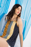 Navy and Yellow Mixed Printed Top - THE WEARHOUSE