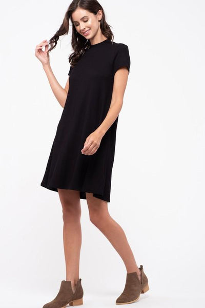 Black Mock Neck Dress with Contrast Tie-Back