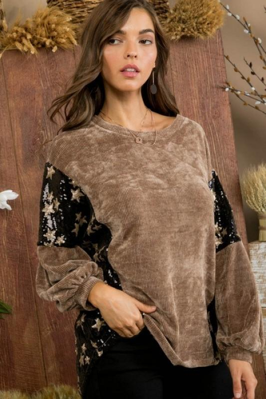 Mocha Round Neck Contrast Star Sequin Bubble Sleeve Top
