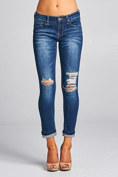 Daisy Double Cuffed Ankle Skinny Jeans - THE WEARHOUSE