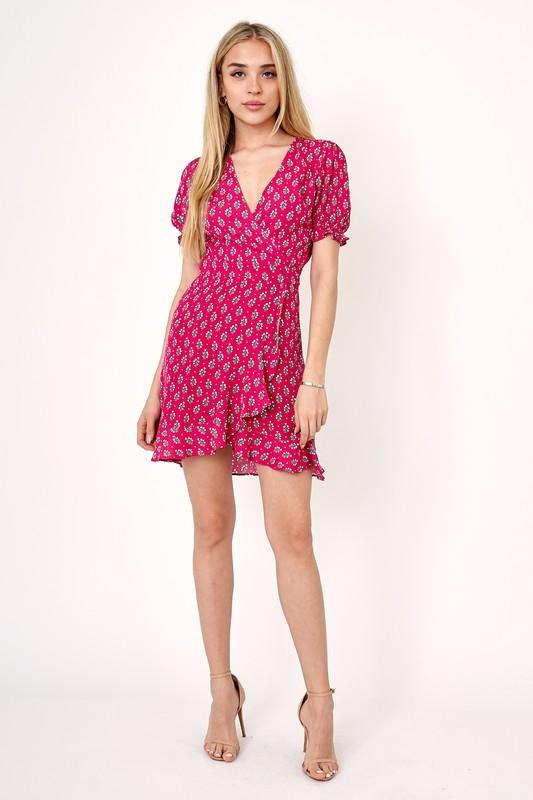 Raspberry and Sage Floral Dress