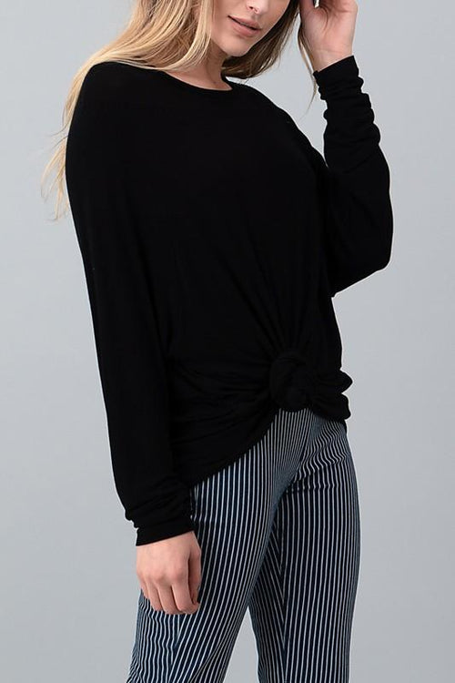 Black Long Sleeve Hacci Top - THE WEARHOUSE