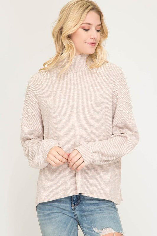 Light Taupe Knit Top with Pearl Detail