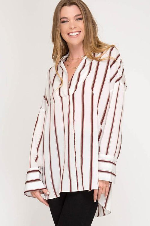 Cream Long Sleeve Striped Tunic Top - THE WEARHOUSE