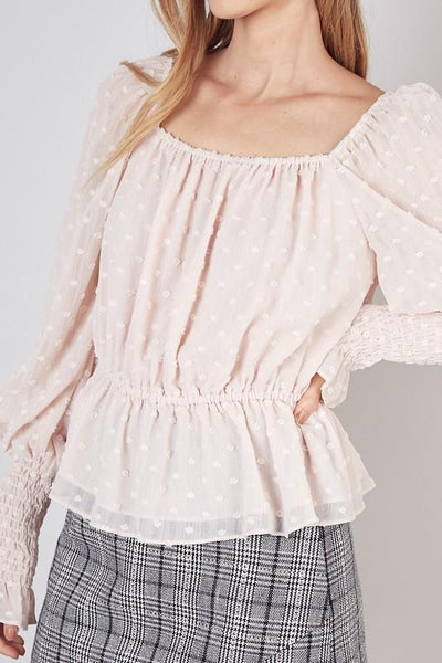 Pink Shirred Sleeve Square Neck Top