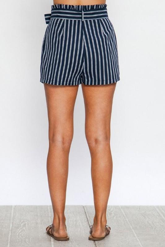 Navy Striped Linen Shorts