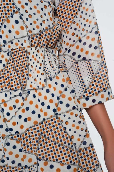 Orange and White Print Shirred Waist Dress