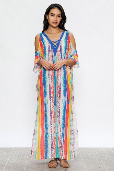 Watercolor Print Lace Kaftan