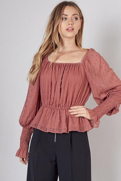 Clay Colored Shirred Sleeve Square Neck Top