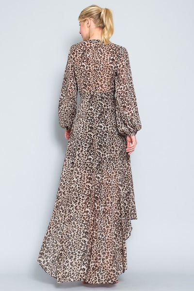 Taupe and Brown Leopard Long Sleeve Wrap Dress