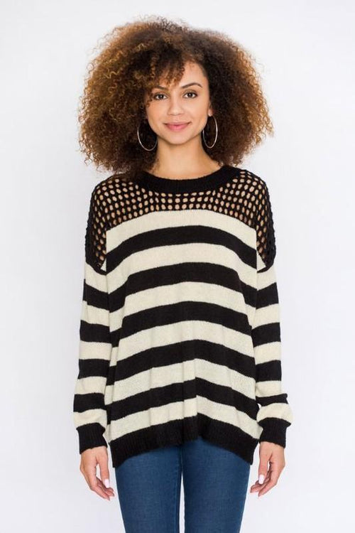 Black And White Stripe Knit Sweater
