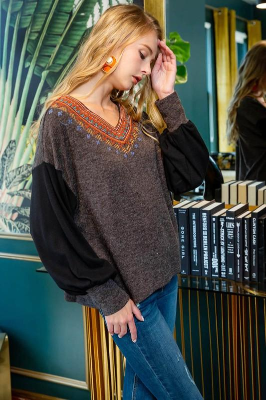 Charcoal V neck Embroidered Drop Shoulder Sweater