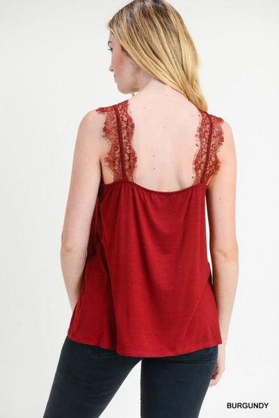 Burgundy Scalloped Lace Trim V neck Cami - THE WEARHOUSE