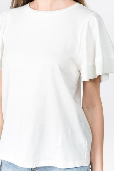 White Seamed Flutter Sleeve Top
