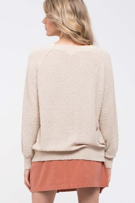 Oatmeal Popcorn Knit Sweater