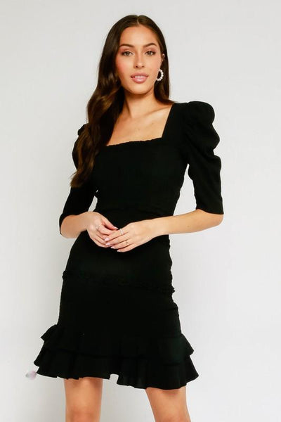 Black Smocked Puff Sleeve Dress - THE WEARHOUSE