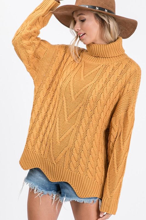 Mustard Long Sleeve Turtleneck Sweater