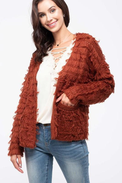 Rust Colored Ruffle Knit Cardigan