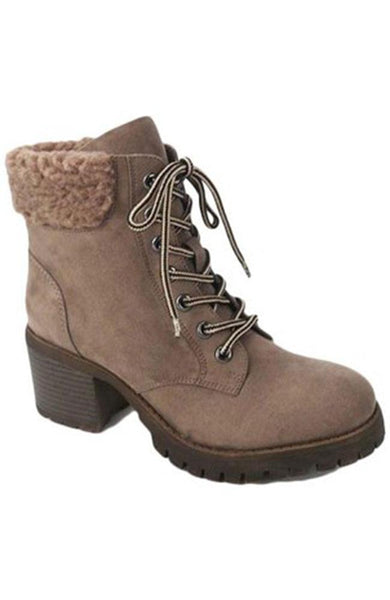 Taupe and Fleece Lace Up Winter Boots - THE WEARHOUSE