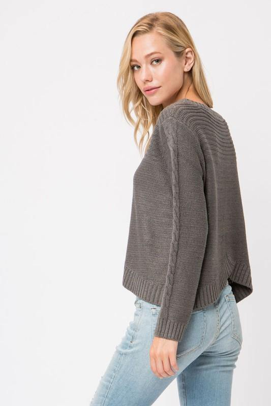 Charcoal Chunky Cable Knit Sweater