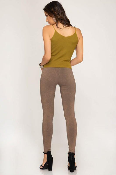 Taupe Mineral Washed Pleated Leggings - THE WEARHOUSE