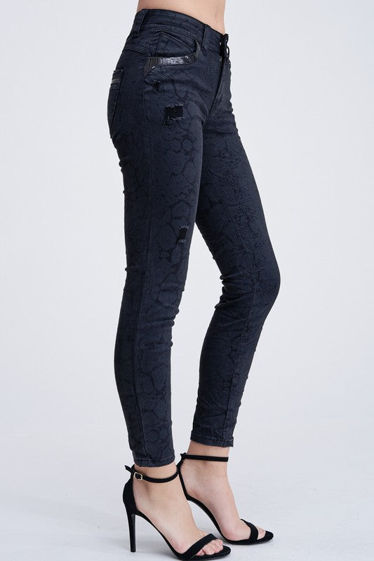 Black Snake Print Sequin Pocket Denim Pants