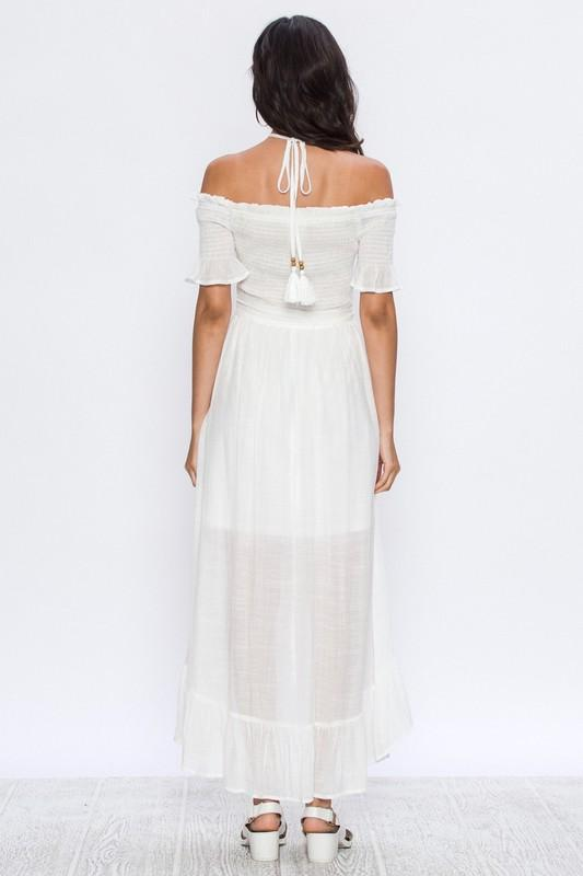 Angelic White Halter Dress