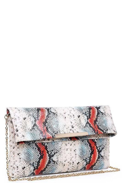 Natural Colored Snakeskin Vegan Leather Clutch