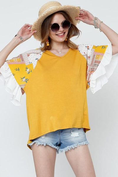 Mustard and Contrasted Print Top with Ruffle Sleeves