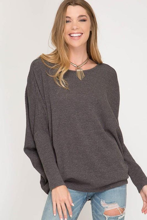 Charcoal Long Sleeve Dolman Top