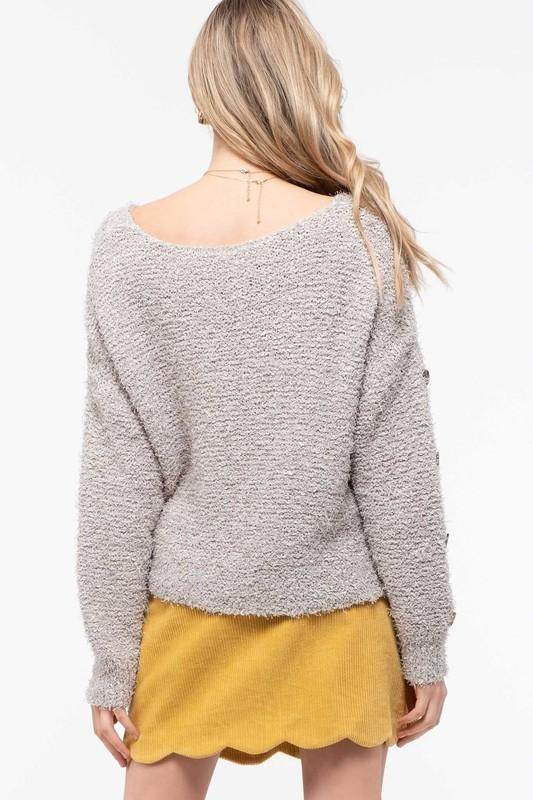 Grey Fuzzy Knit Sweater