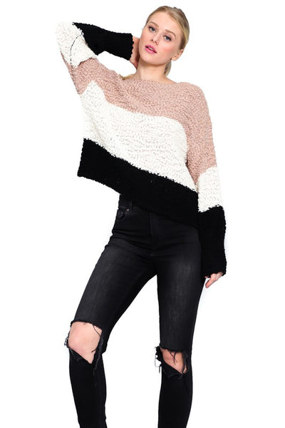 Black, Camel, and Ivory Long Sleeve Boat Neck Sweater