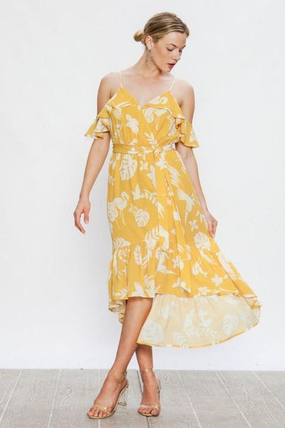 Yellow and Ivory Wrap High Low Dress