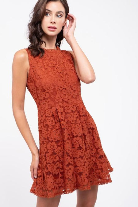 Rust Colored Dress with Belted Waist