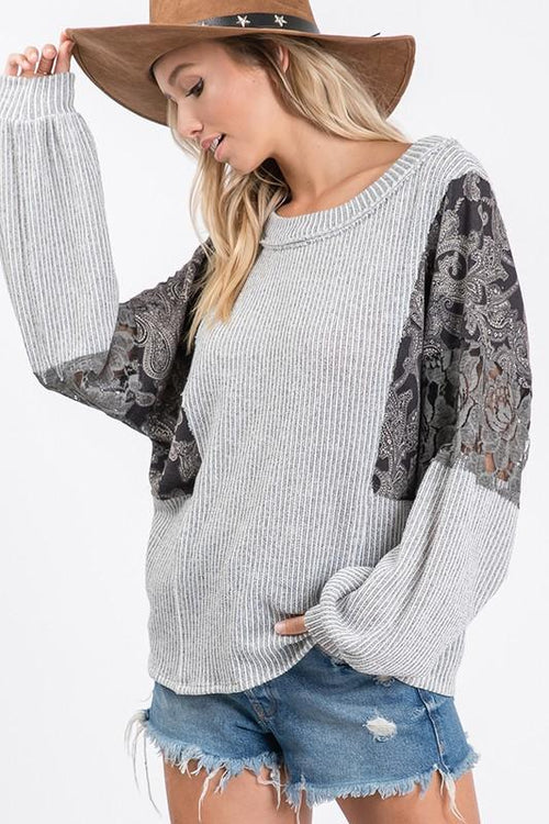 Grey and Multi Design Ribbed Casual Top