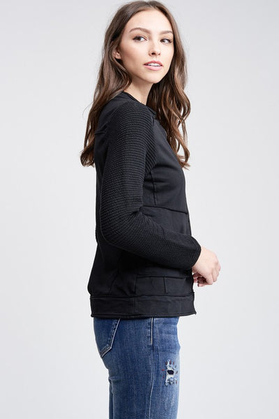 Black Motto Knit Jacket