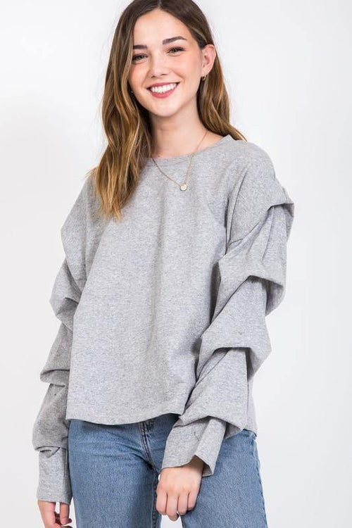 Grey Tapered Sleeve Sweater