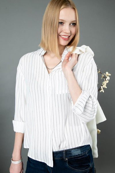 White Striped Button Down Long Sleeve Top
