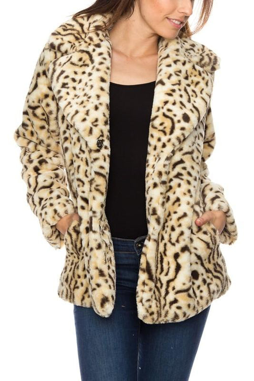 Cream Long Sleeve Faux Fur Animal Print Jacket