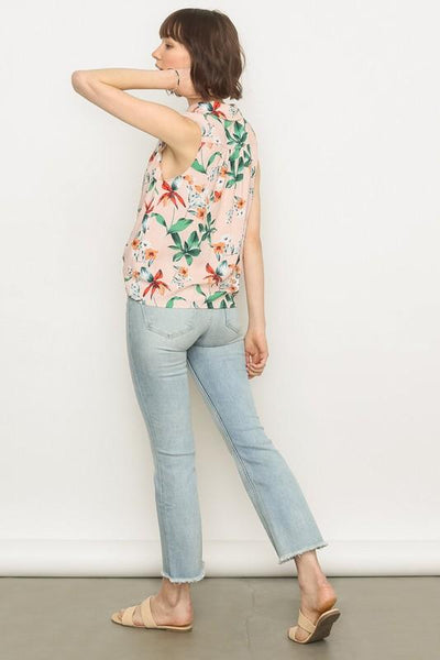 Blush Floral Button Tie Front Tank