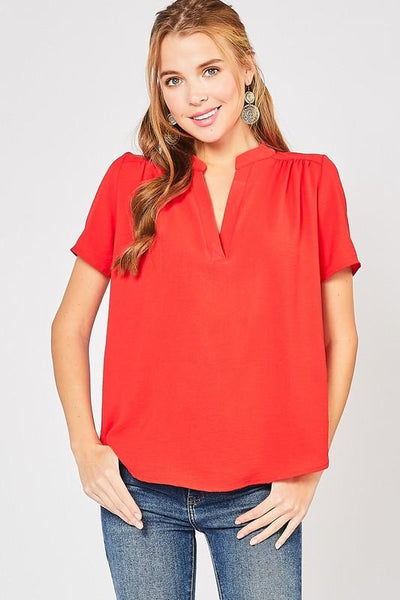 Short Sleeve Red V-neck Top