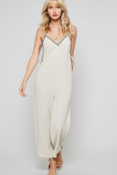 Natural Colored Wide Leg Jumpsuit