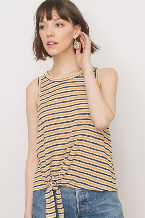 Mustard and Navy Front Tie Tank