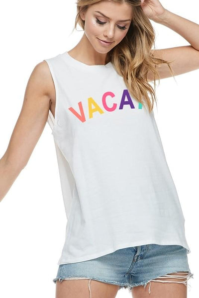 Vacay Multi Color Graphic Tee Ivory - THE WEARHOUSE