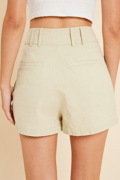 Natural Colored Front Pleated Shorts - THE WEARHOUSE